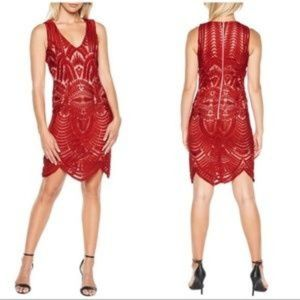 Bardot Red Embroidered Mesh Scallop Cocktail Dress